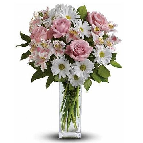 Breathtaking Basket of White & Pink Flowers