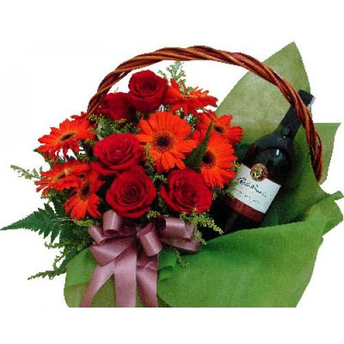 Gorgeous Red Roses & Gerberas with Red Wine
