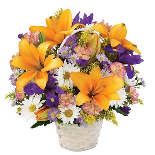 Fresh Flowers in a Wicker Basket