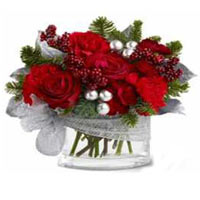 Rich Selection Jar of Red Flowers<br>