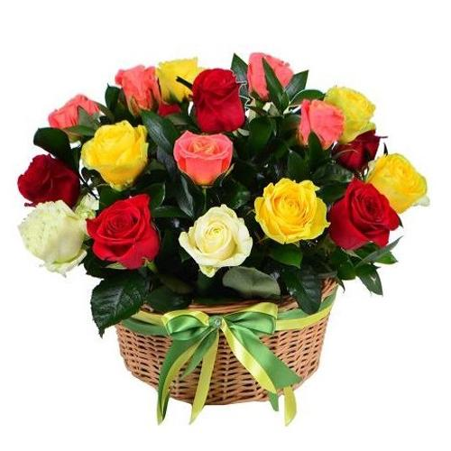 Romantic Basket with Mishmash Roses