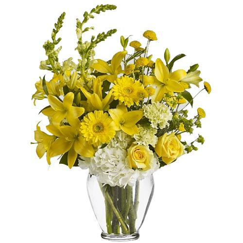 Ornamental Ivory Yellow Bouquet in a Vase