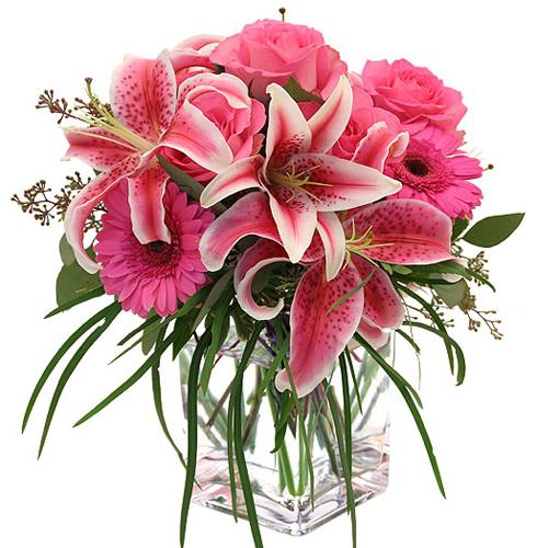 Graceful Pink Splendor Flowers in a Glass Vase