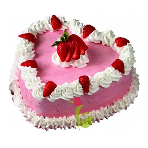 Classical Pink Colored Cake in Heart Shape