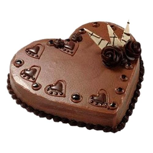 Delicious Heart Design Chocolate Cake with Chocolate Decorations