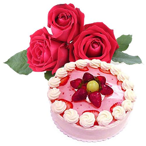 Pleasurable Celebration Gift of Cake and Bouquet