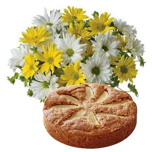 Satisfying Collection of Yellow N White Daisies with Yummy Apple Tart