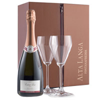 Intense Royal Treatment Wine with Flute Glasses Gift Box