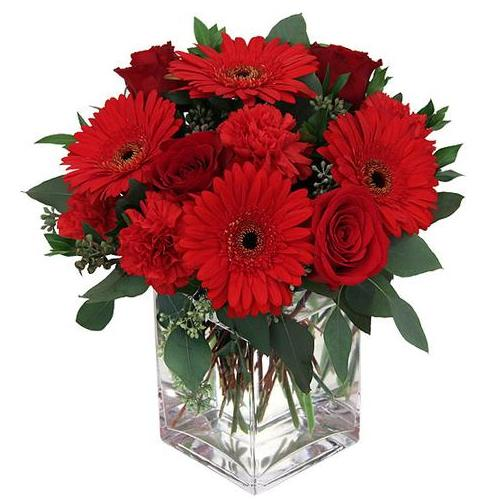 Beguiling Red Roses And Gerberas