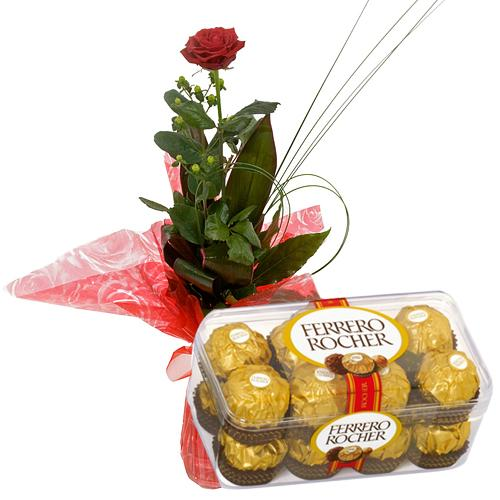 Moreish Ferrero Rochers with Red Roses.