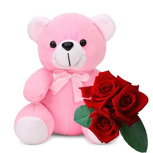 Sophisticated Red Roses with Teddy Bear