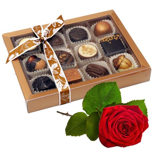 Crunchy Box of Gluttonous Caprices Chocolate with Red Rose