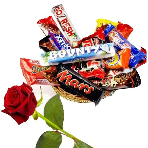 Delicious Mixed Chocolate Bars Treat with Red Rose