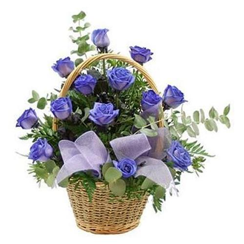 Treasured Blooms of 15 Blue Tone Roses Basket