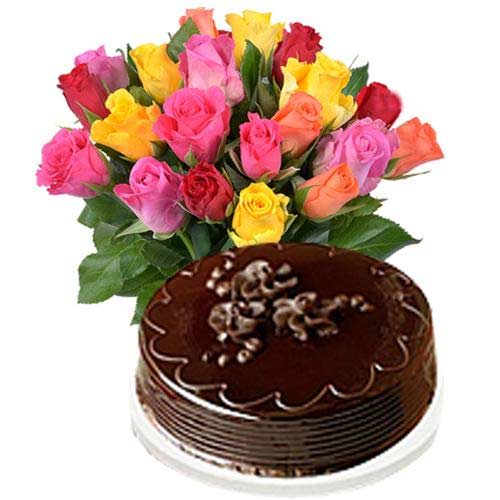 Regal Multicolored Roses and Cake in Chocolate Flavor