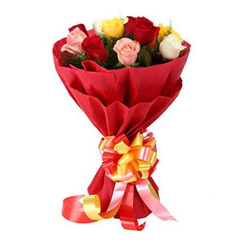 Petite One Dozen Mixed Color Roses Collection