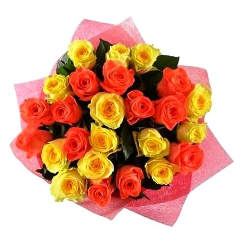 Festive Bouquet of Vivid Color Roses