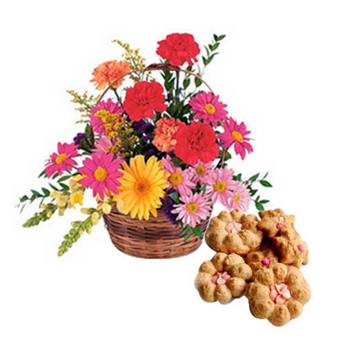 Silky-Smooth Display of Multiple Flowers in a Basket with Tasty Biscuits<br>