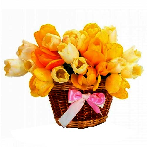 Sweet Surprise Basket of Yellow Tulips