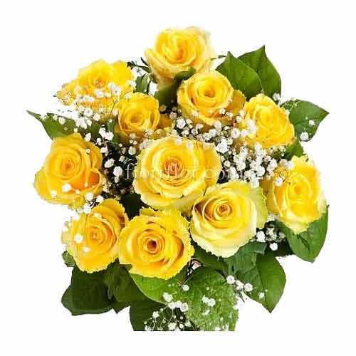 Eye-Catching Bunch of Eleven Roses in Yellow Color