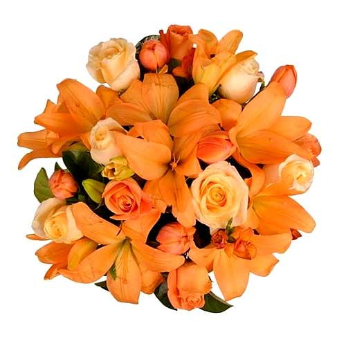 Stimulating Bunch of Orange Lilies and Orange Roses
