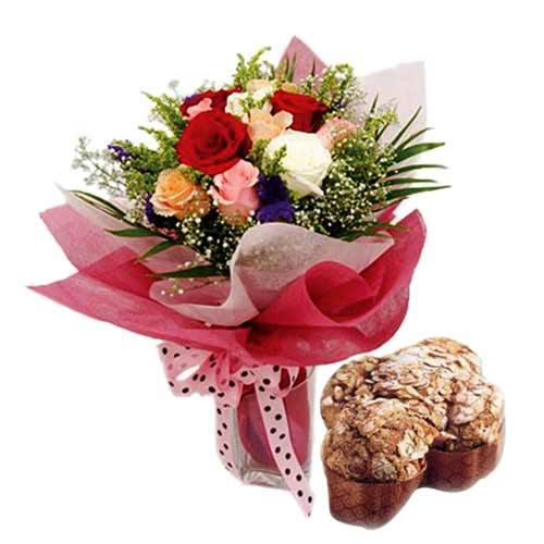 Ravishing Present of 12 Mixed Roses Bunch with Dove Easter Cake