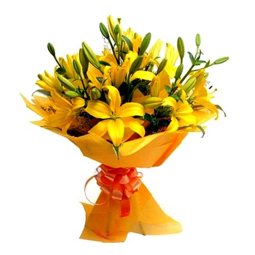 Sun-Kissed Display of Yellow Colored Lilies