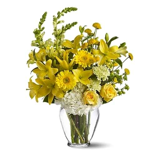 Eye-Catching Arrangement of Yellow Flowers in a Vase