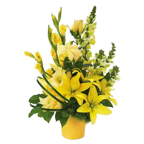 Unique Aspiration Yellow Color Mixed Floral Bunch