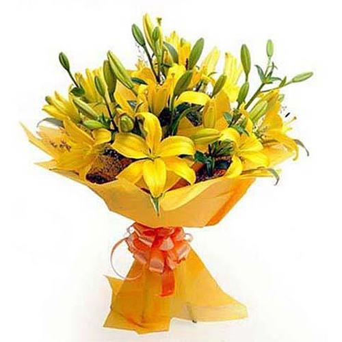 Cherished Festive Arrangement of Yellow Lilies