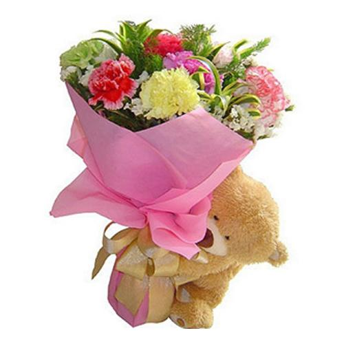 Dazzling Gift of Assorted Floral Bunch with Cute Teddy Bear