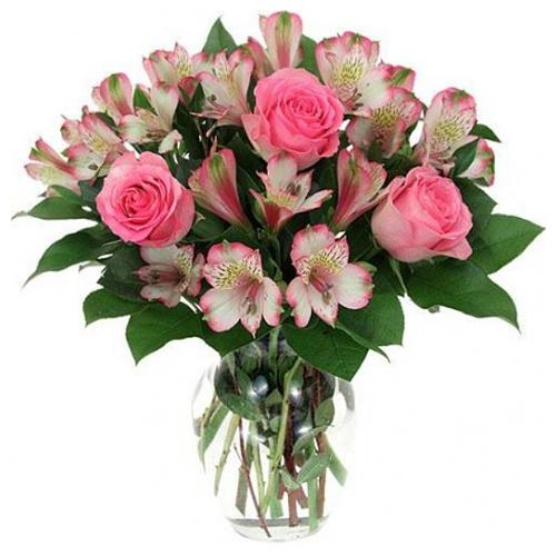Lovely Pink Astromerie and Pink Roses in a Vase with Lots of Greens