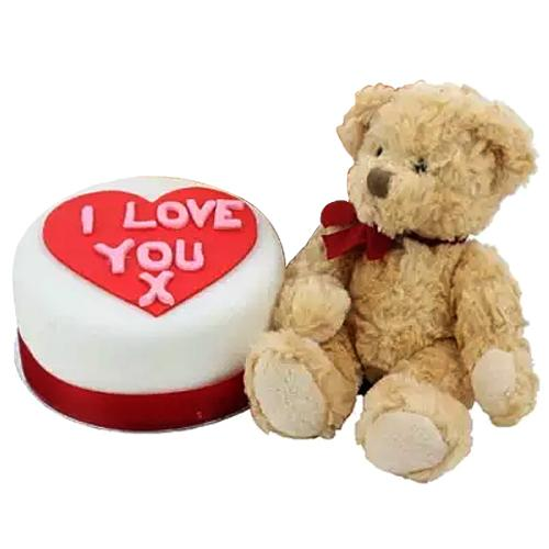 Captivating Gift Collection of Love Cake and Stuffed Teddy Bear