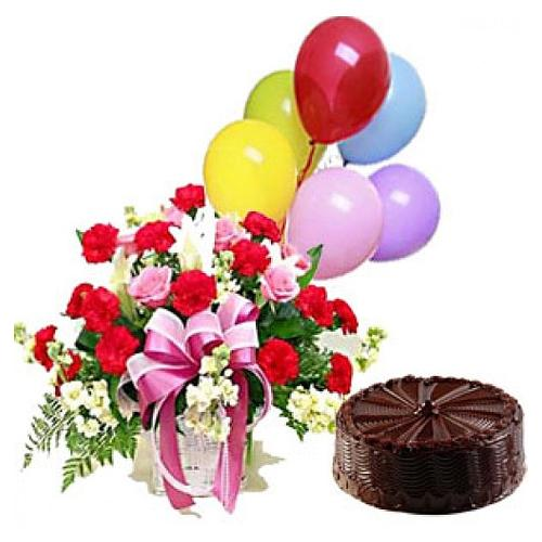 Sophisticated Gift of Mixed Flower Basket with 5 Balloons and Chocolate Cake