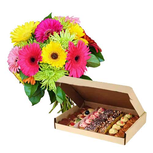 Radiant Composition of Varied Treats Box with Colorful Gerberas
