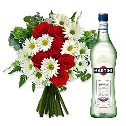 Cute Arrangement of Assorted Floral Bouquet N White Martini