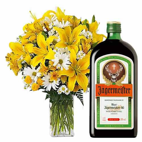 Charming Bottle of Jaegermeister and Bunch of Colorful Flowers