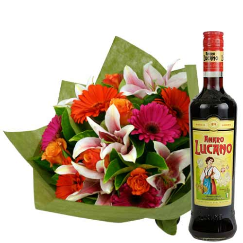 Welcoming Flowers Arrangement with Bottle of Amaro Lucano