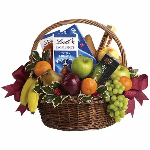 Bright Combo Gift Basket of Chocolates with Fruits