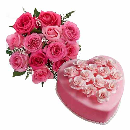 Lovely V-Day Combo of Heart Shape Cake with Pink Roses Bunch<br>