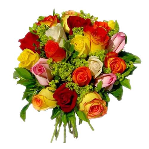 Multicolored Roses Bouquet for V-day