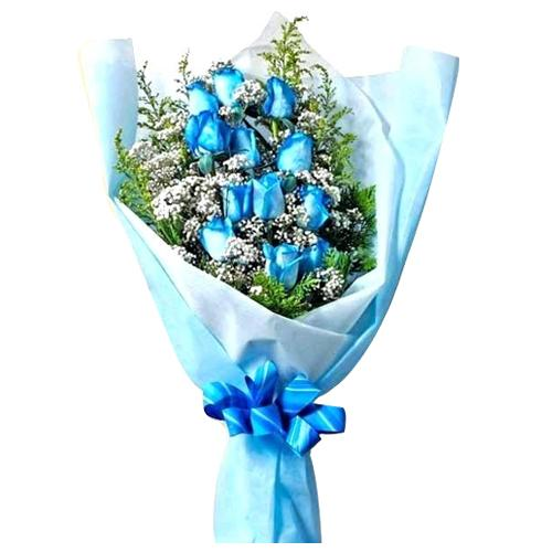 Brilliant Blue Roses Bouquet