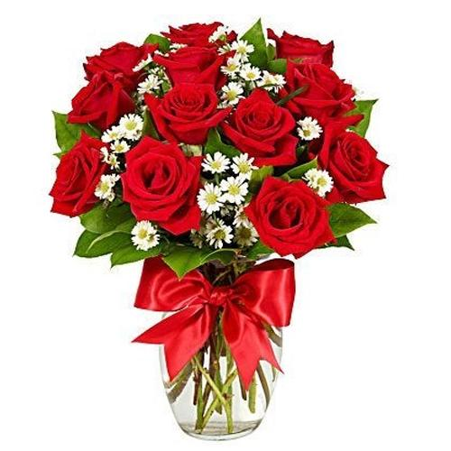 Artful Bouquet of One Dozen Red Roses