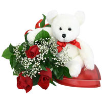 Fabulous Bouquet of Roses and a Teddy Bear for Valentine's Day