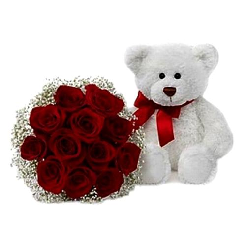Blushing Roses with Teddy Bear
