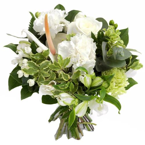 Dreamy White Roses and Lilium in a Bowl Decorated with Greens