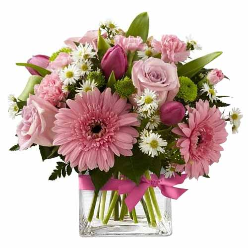 Blushing Forever in love Cart Pink Flowers