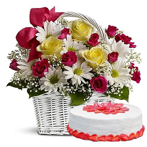 Incomparable Celebration Special Mixed Flower Arrangement and Cake
